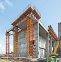 Refuse Derived Heating and Power Station, Spremberg, Germany - The VARIOKIT heavy-duty shoring towers with a height of 23.60 m can support loads of over 200 t in each case. The horizontal assembly of the approx. 10 m high tower sections makes the erection of the shoring easy and safe.
