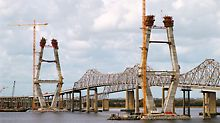 Two 175 m high piers at a distance of 472 m from each other, take the loads of this cable stay construction which connects both sides of the Cooper River.