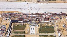 BBI Airport, Berlin Brandenburg, Germany - Only when seen from an aerial perspective is the scale of the construction site really apparent: the area is the size of around 2,000 football pitches.
