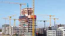 Construction of the 76 meters high office tower.
