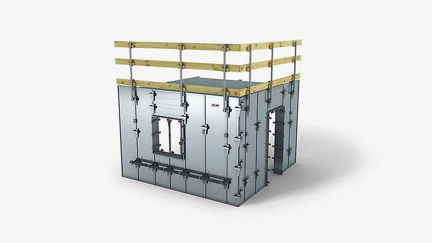Sehr viele gleiche Baukörper im sozialen Wohnungsbau schnell und effizient schalen