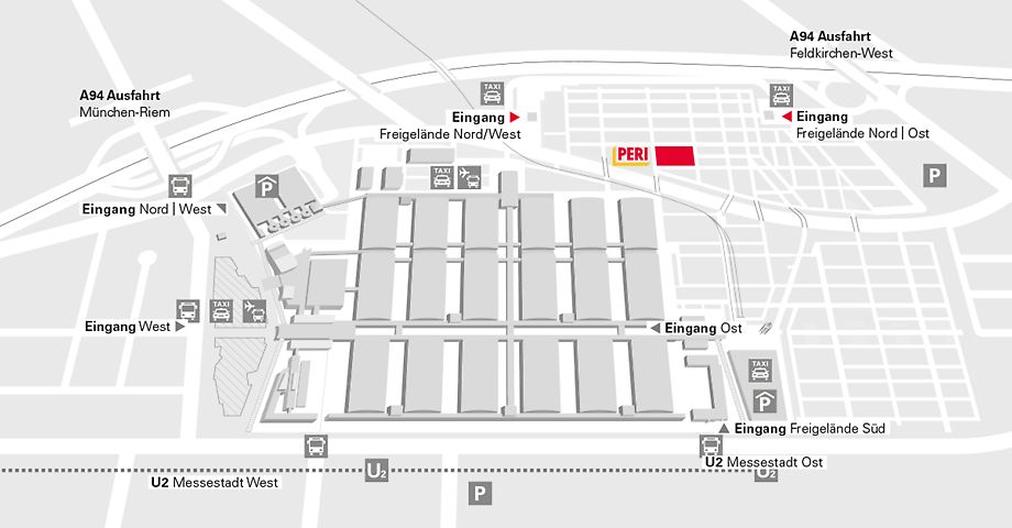 Overview of the bauma 2016 fair trade area with fair halls and open-air areas.