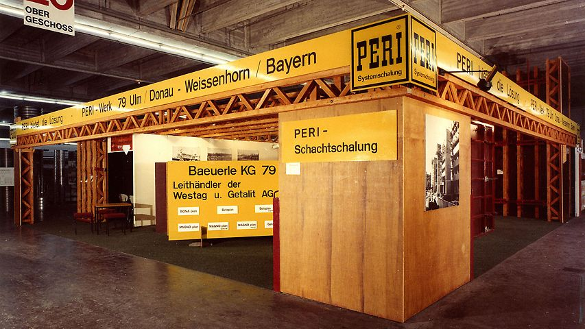 PERI bauma booth 1971 in the exhibition hall in Munich