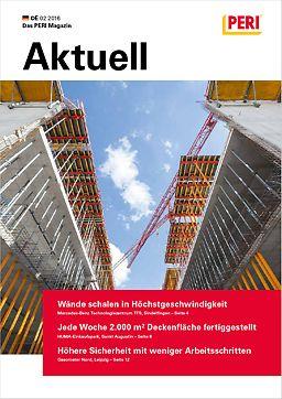 Cover der 2. Ausgabe des Kundenmagazins PERI aktuell Deutschland für das Jahr 2016