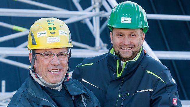 Porträt von Michael Koschorreck, Kolonnenführer und Andreas Dölz, Bauleiter bei BSB Bau- und Spezialgerüstbau Franke & Wagner GmbH