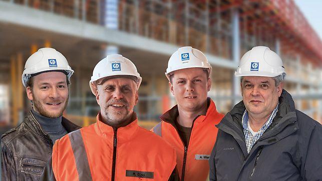 Gruppenbild von Konrad Helm, Bauleiter; Martin Etzel, Polier; Andrej Werner, Polier; Manfred Dauber, Arbeitsvorbereiter