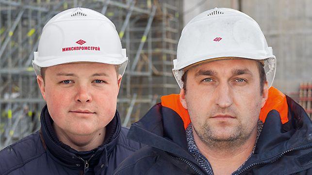 Porträt von Yuri Cherniak, Bauleiter und Andrei Smouzh, Bauleiter, Minskpromstroy, Minsk