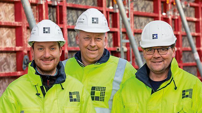 Porträt von Marco Wilbert, Bauleiter, Franz Lügering, Leiter Schalungsbau und Andreas Kollmer, Polier bei Gerhard Lühn GmbH & Co. KG, Lingen