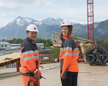 Bauführerin Kathrin Arnet, Polier Ernst Bühler,  Frutiger AG