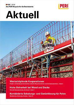 Cover der 1. Ausgabe des Kundenmagazins PERI aktuell Deutschland für das Jahr 2019