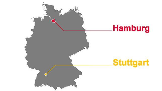 Primeras sucursales de PERI en1972: Stuttgart y Hamburgo