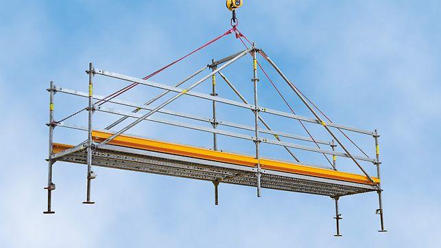 Die PERI UP Flex Grabenbrücke dient als temporärer und sicherer Übergang über Baugräben oder Baugruben mit 6 m und 9 m Spannweite. Die Brücke wird komplett aus PERI UP Systembauteilen zusammengebaut und kann im Ganzen per Kran versetzt werden.