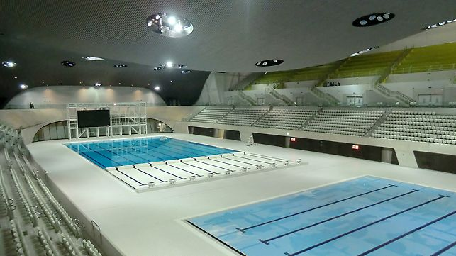 The solution by PERI is realised in the finish of the concrete walls for the Aquatics Centre for London 2012