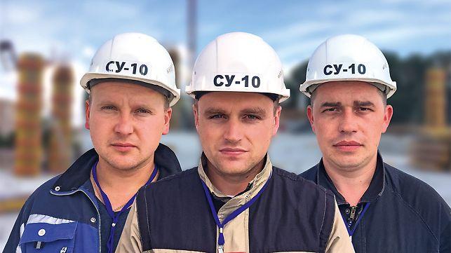 Porträt von Dmitry Kovalenko, Roman Gaychenya, Viktor Nazaruk, Poliere, SU-10 Fundamentstroy CJSC