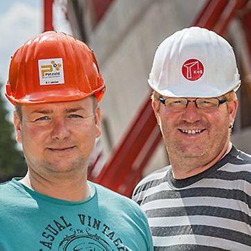 Foto von Andreas Lumme und Jürgen Hindermann, Poliere von ARGE Leuphana: Pätzold GmbH Goslar, Kümper und Schwarze GmbH  Wolfenbüttel
