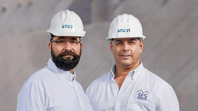 Porträt von Juan Pablo Durán, Projektleiter und Jorge Enrique Restrepo Sulez Bauleiter bei Sacyr Construcción Colombia SAS; Sacyr Chile
