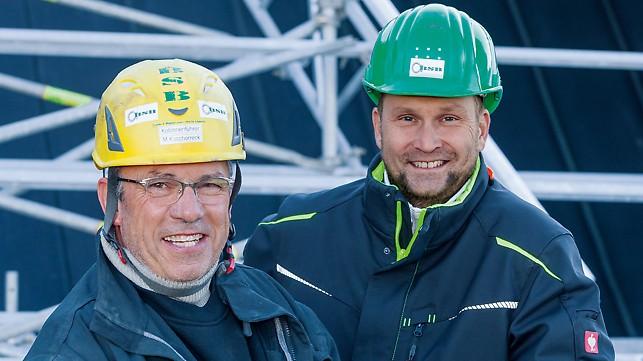 Portret Michael Koschorreck, nadzornik i Andreas Dölz, šef gradilišta pri BSB Bau- und Spezialgerüstbau Franke & Wagner GmbH