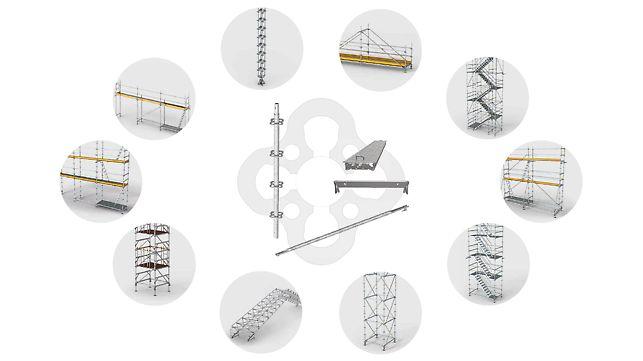 PERI UP Kernbauteile (Vertikalstiele, Horizontalriegel, Riegeldiagonale und Stahlbeläge) sind für unterschiedlichste Anwendungen einsetzbar