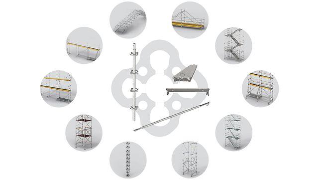 De PERI UP basiselementen (staanders, liggers, diagonalen en stalen vloerplaten) kunnen worden gebruikt voor de meest uiteenlopende toepassingen.