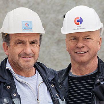 Portrait von Klaus Weiland und Franz Stadelmaier, Poliere, F. Kirchhoff Systembau GmbH, Münsingen