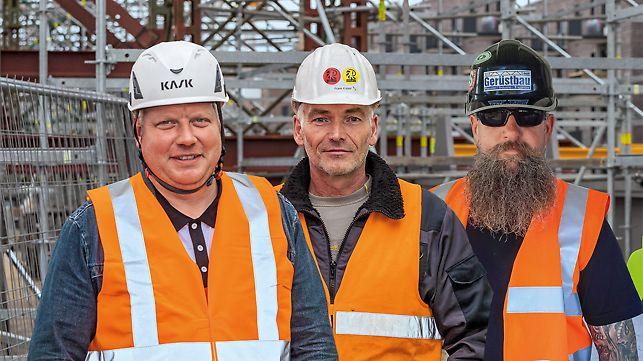 Porträt von Jan Bauermeister, Geschäftsführer bei B&S Gerüstbau, Frank Koppe, Bauleiter bei Stahlbau Dessau, Kai Flößner, Geschäftsführer bei F.I.T. Gerüstbau