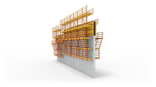 Самоподъемная система ACS с площадкой для армирования с одной стороны.