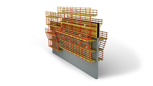 The Self-Climbing System ACS-R with the one-sided reinforcement scaffold in advance.