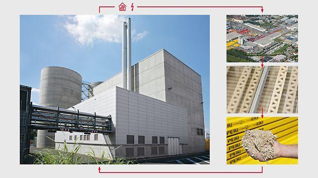 U elektrani na biomasu od iverice se dobivaju toplina i struja. Ta se energija ponovno koristi u tvornici.