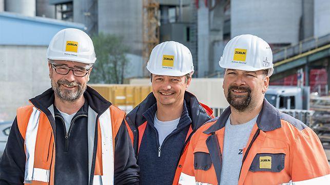 Porträt von Markus Diebold, Polier, Daniel Ocker, Projektleiter und Andreas Banzhaf, Polier bei Ed. Züblin AG, Bereich Ulm/Neu-Ulm