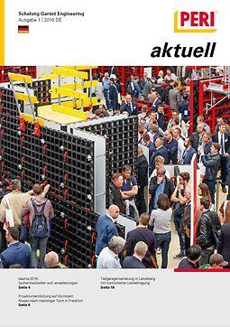 Cover der 1. Ausgabe des Kundenmagazins PERI aktuell Deutschland für das Jahr 2016