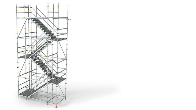 The PERI UP Flex Staircase 125 has a clear width of 120 cm between the legs of the modular scaffold and can be easily and safely accessed by site personnel carrying tools or building materials.