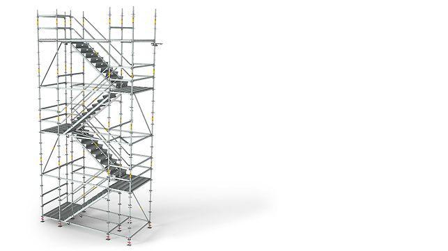 Die PERI UP Flex Treppe 125 mit einer lichten Breite von 120 cm zwischen den Stielen des Modulgerüsts lässt sich auch mit Werkzeug oder Baumaterialien bequem und sicher begehen.