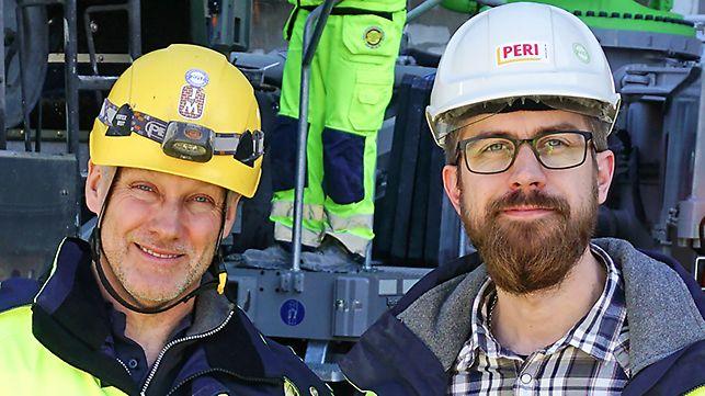 Anders Wiberg, Produktionsledare STOM på JM och Joel Wallin, PERI Sverige AB.