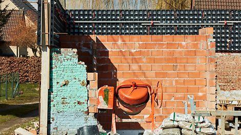 Het gebruik van DUO bekisting in een renovatieproject voor het bekisten van de ringbalk.