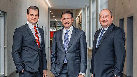 Im April 2014 übernimmt Dr. Fabian Kracht das Geschäftsführungsressort Finanzen und Organisation. Ab Mai 2015 leitet Leonhard Braig das Geschäftsführungsressort Produkt und Technik. (v.l.n.r.) Dr. Fabian Kracht, Alexander Schwörer und Leonhard Braig