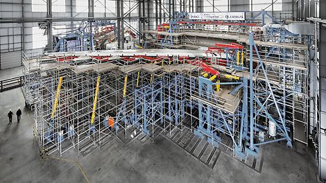 Airbus A350 XWB Test Stand, Erding, Germany - The PERI UP working scaffold allows test preparations as well as continuous measurement and inspection work to be carried out during the EF-2 testing phase.