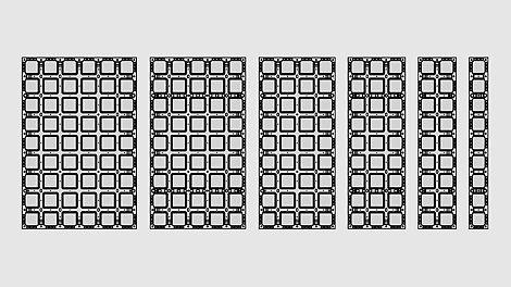 Système de coffrage avec pas moins de 6 largeurs différentes et 2 hauteurs. Idéal pour une utilisation sur site où les plaques doivent être modulaires.