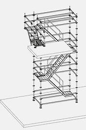 """Kleinere Höhenanpassungen werden durch Rampen mit Industriebelägen gelöst, wobei das Rechteckprofil zum Befestigen der Beläge durch den """"Riegel an Treppe"""" an eine Treppenstufe montiert wird."""
