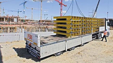 PERI supports the construction site team with different types of system formwork, among them huge amounts of slab, wall and column formwork. PERI's service also includes the planning and delivery of accordingly adjusted shoring.