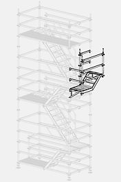 The stair tower is erected using regular floor heights of 2.00 m. Adjustments to the openings on the building are carried out on brackets – suspended on the outside – with short staircase units of 1.50 m in length and heights of 50 or 100 cm.