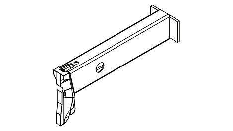 Die Konsole für einen 33 cm breiten Belag wiegt knapp 1,4 kg und wird am Easy Rahmen per Gravity Lock in den Rosett- Knoten eingehängt.
