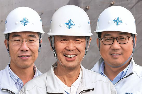 Portrait of Meng Fanli, Project Leader West Island, Lin Ming, Project Director, Liu Haiqing, Project Leader East Island, China Communications Construction Company Ltd. (CCCC)