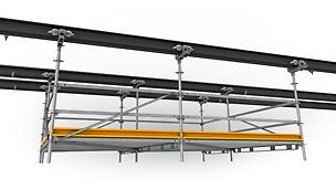 The suspended scaffold can be manoeuvred with little effort due to smooth plastic rollers.
