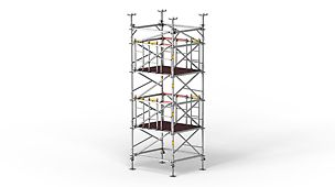 The shoring tower with system-integrated safety for vertical assembly and dismantling