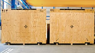 Plywood which is used as industrial packaging for valuable goods is characterized by its high strength and low weight.