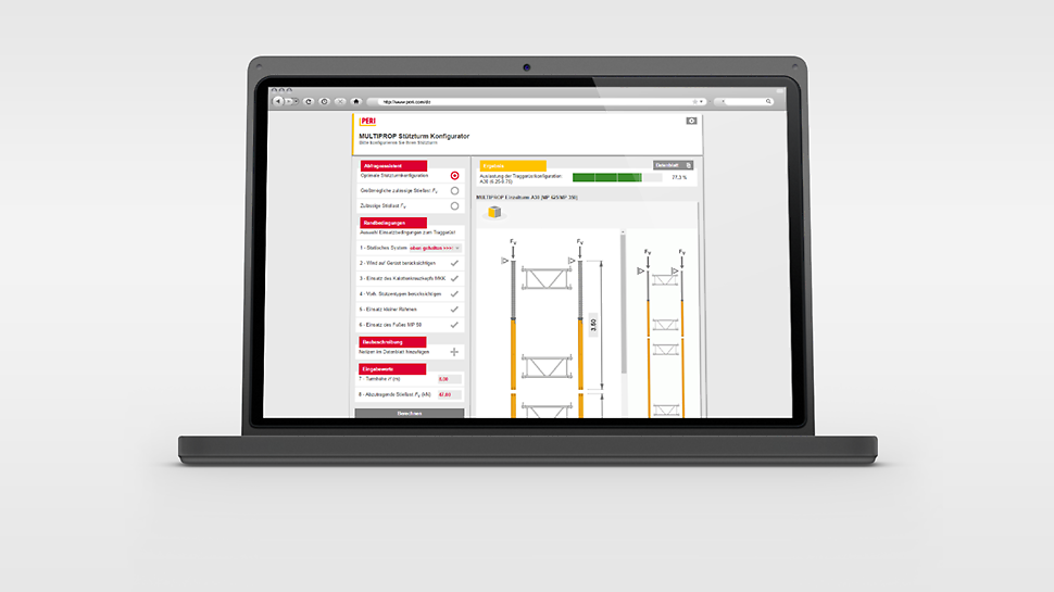 The MULTIPROP Shoring Tower Configurator for the identification of the optimal shoring configuration.