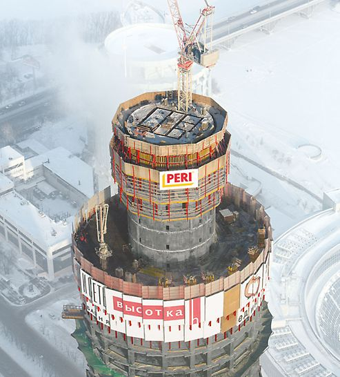 ISET Tower, Yekaterinburg, Russia - The elevator shafts are arranged in the centre of the building´s core. Due to the restricted dimensions, self-climbing ACS S shaft formwork is being used for these walls.