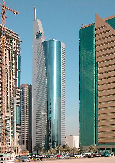 21st Century Tower, Dubai, United Arab Emirates - Construction on the 269 m high 21st Century Tower was completed in 2003. At the time, the skyscraper was the highest building in the world.