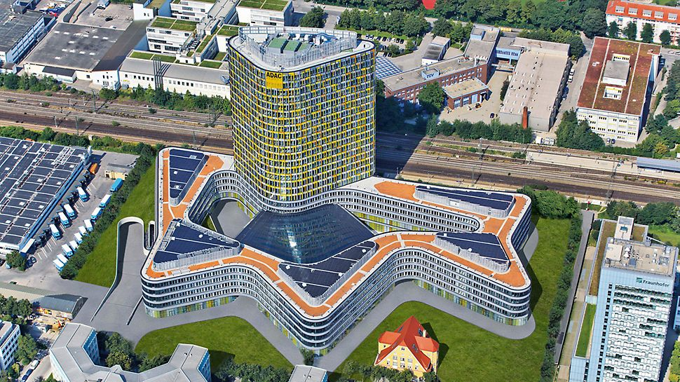 ADAC Headquarters, Munich, Germany - The new ADAC headquarters is comprised of a five-storey, undulating curved base structure with a large courtyard. The office tower continues upwards for another 18 floors.