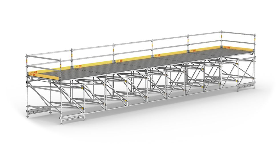 For wide-span working platforms and temporary pedestrian footbridges